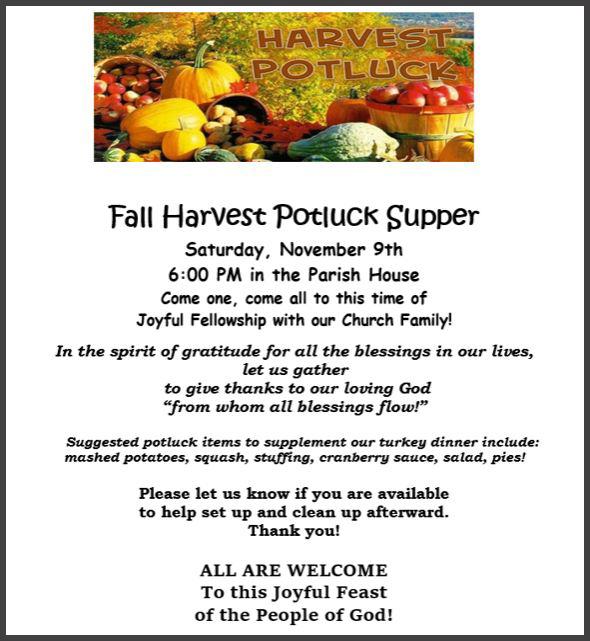 Fall Harvest Potluck Supper 2019 Border